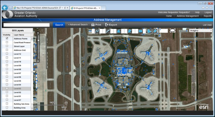 Greater Orlando Aviation Authority GIS Address Data Management Application