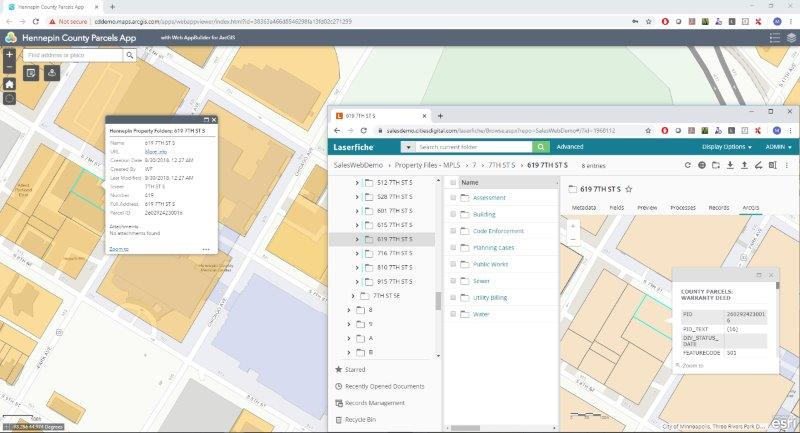 The CDI ArcGIS integration with Laserfiche