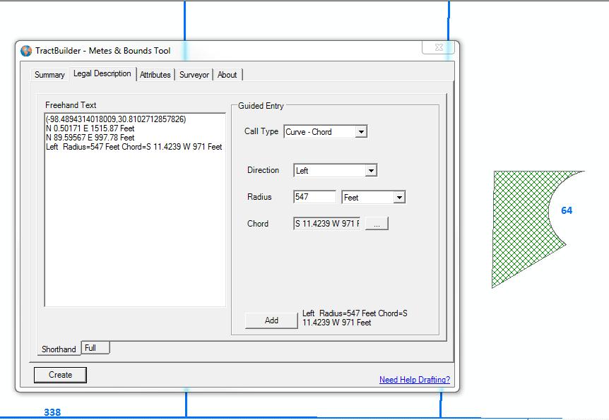 TractBuilder Metes & Bounds Tool