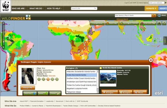 World Wildlife Fund WildFinder