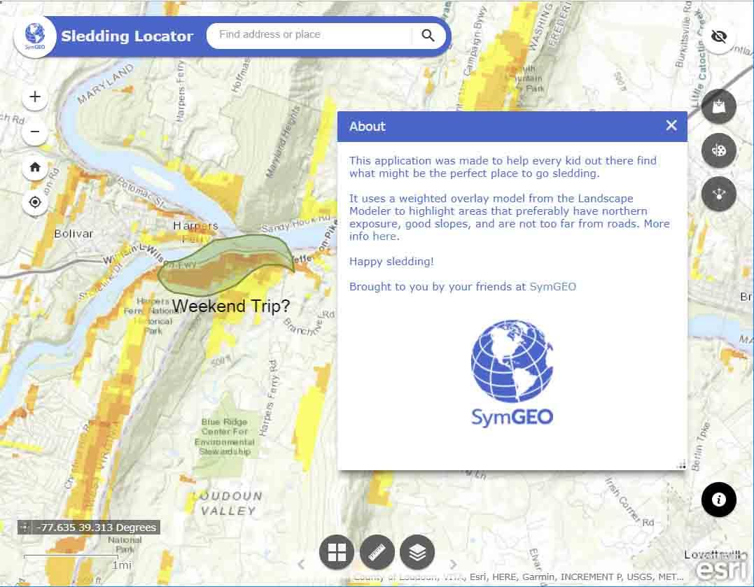 Sledding Locator (Terrain Suitability Modeler)